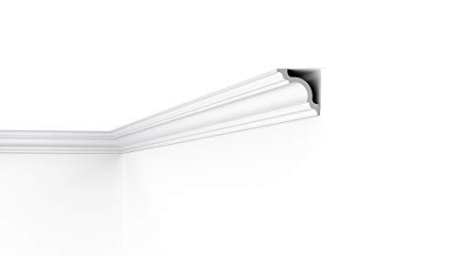 Cornisa/Moldura decorativa techo blanca NMC NOMASTYL® A1 80X80X2000mm de Poliestireno 2 metros