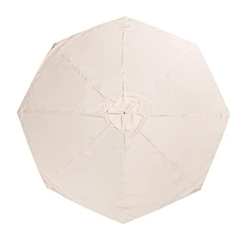 Cabilock Cubierta de Sombrilla de Patio Protección Uv de Poliéster 8 Costillas Mesa de Exterior Cubierta de Sombrilla Reemplazo de Cubierta de Sombrilla para Sombrilla Sunbrella (Beige)