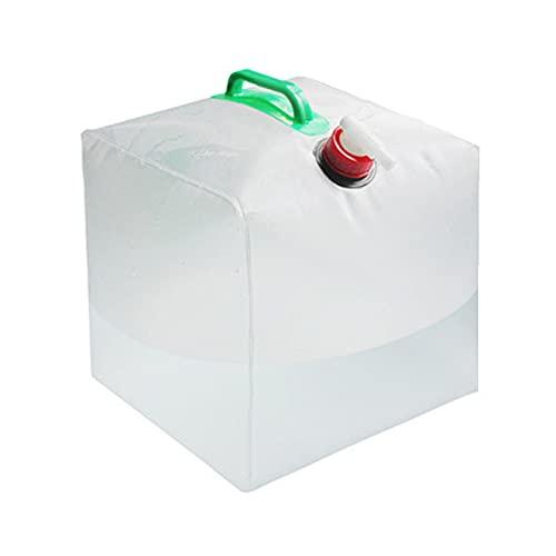 Bidón de agua plegable con grifo, 20 l, depósito de agua portátil, bolsa de agua para camping, con asa, para senderismo, picnic, barbacoas, sin BPA