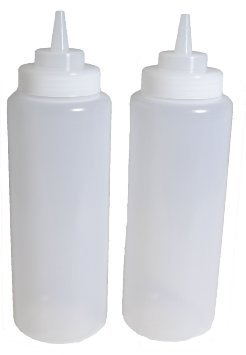 SET of 2, 32 Oz. (Ounce) Large Clear Squeeze Bottle, Condiment Squeeze Bottle, Open-tip, Wide Screw-on Spout, Polyethylene Durable Plastic, Diner Style (2) by Update International