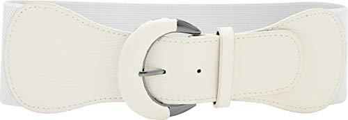 BlackButterfly Wide PU Elastic Stretch Thick Buckle Waist Belt (White, US 10-12)