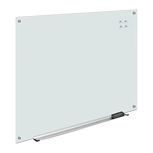 Amazon Basics - Pizarra de borrado en seco de vidrio - Blanca, magnética, 120 x 90 cm