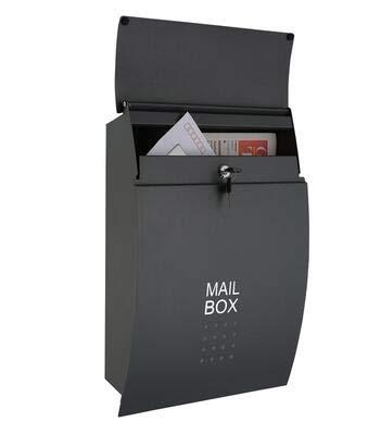 Xuping shop Muur gemonteerde brievenbus Afsluitbare waterdichte mailbox, Outdoor Iron brievenbus, Postvak Met Poeder Gecoat Staal, 17.55'' Inch - Donker Grijs