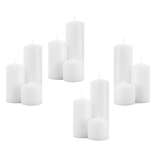 Royal Imports 3 Inch Pillar Candles (12 Candles - 4 of Each 3x3, 3x6, 3x9) White Unscented Premium Wax for Wedding, Spa, Party, Birthday, Holiday, Bath, Home Decor, 4 Sets