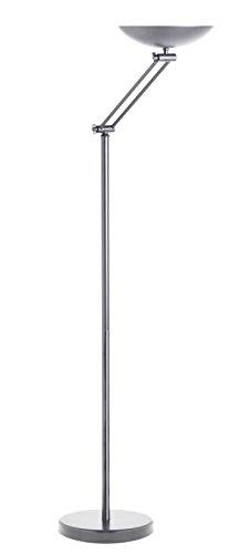 Unilux DELY - Lámpara de pie LED con brazo articulado, foco de techo regulable, color plateado mate