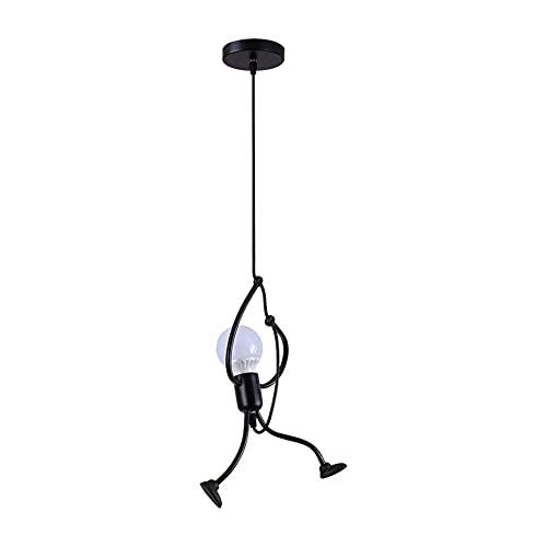 LIPETLI Lámpara Colgante de Hierro Negro Vintage, lámpara Colgante de diseño de Dibujos Animados de Hierro Creativo para Dormitorio de niños, Sala de Estar, vestíbulo, Cocina, lámpara no incluida