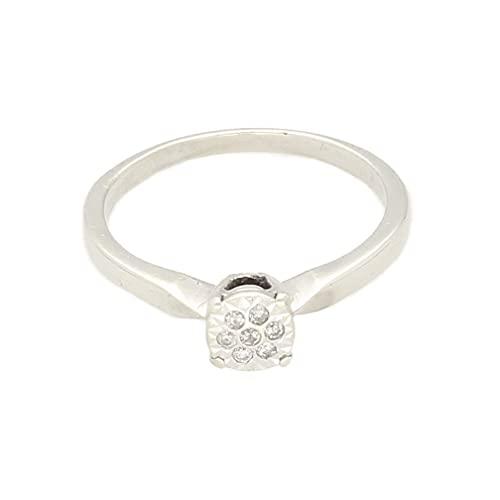Anillo para mujer de oro blanco de 9 quilates de 0,05 quilates (tamaño L 1/2) cabeza de 5 x 5 mm, anillo de lujo para mujer
