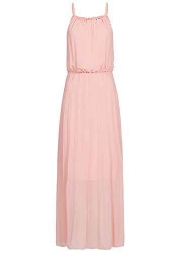 Styleboom Fashion® Damen Kleid Sommerkleid Maxi Strap Plisse Dress 2-Layer rosa, Gr:M