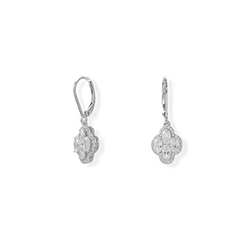 Pendientes de plata de ley 925, chapados en rodio, 4 ovalados, con diseño de trébol, con cuatro circonitas cúbicas, para colgar en la caída, joyería de regalo para mujeres