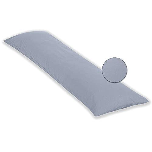 PHD Primera Seitenschläferkissen 140 x 40 cm mit Bezug (Grau Uni) - Allergiker-empfohlen u. 60°C waschbar, perfekt als Schwangerschaftskissen u. Stillkissen, Öko-Tex 100 Zertifiziert