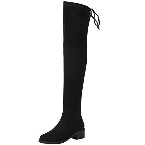 JYANG Damen Schnürstiefel Samt Overknee Stiefel 4cm Absatz Langschaftstiefel Blockabsatz Boots Niedrig Schwarz 38.5 EU
