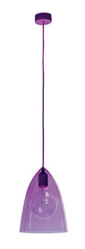sulion Glassy Lampe de plafond Suspension E27, 60 W, Violet, 21.5 x 21.5 x 160 cm