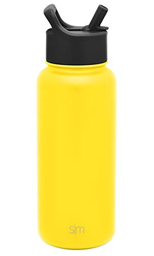 Simple Modern Insulated Water Bottle with Straw Lid 1 Liter Reusable Wide Mouth Stainless Steel Flask Thermos, 32oz (945ml), Sunshine