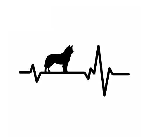 MDGCYDR Pegatinas Coche Perro Pegatinas Divertidas para Coche, Línea De Latido del Corazón, Perro, Husky Siberiano, Bulldog, Pegatinas Decorativas De PVC, Negro/Blanco, 18 Cm * 8 Cm