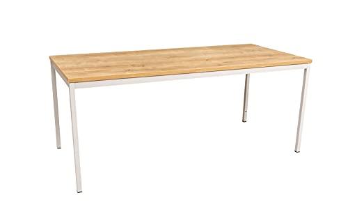 Furni24 Rechteckiger Universaltisch mit laminierter Platte, Metallgestell und verstellbaren Füßen, ideal im Homeoffice als Schreibtisch, Konferenztisch, Computertisch, Esstisch - Eiche 200x80x75 cm