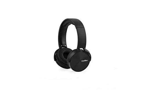 CoolBox CoolMetal – Auriculares bluetooth de diadema (inalámbricos o con cable, plegables, manos libres, microSD, 7 horas autonomía) Negro