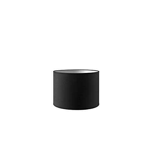 Lampenschirm rund | Bling | Stofflampenschirm | Textilschirm | Baumwolleschirm | Für E27 Fassung | Durchmesser 25cm Höhe 18,5cm | Nacht Schwarz | Für alle Innenraumen IP20 | Ohne Leuchtmittel