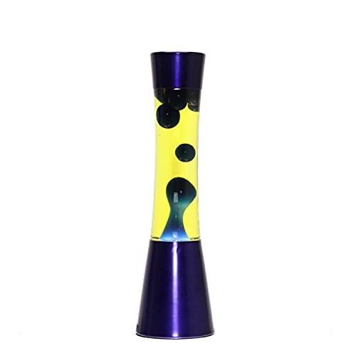 Lámpara de lava Ringo azul y amarillo 39cm grande E14 25W incl. interruptor de cable en los momentos atmosféricos de la lámpara