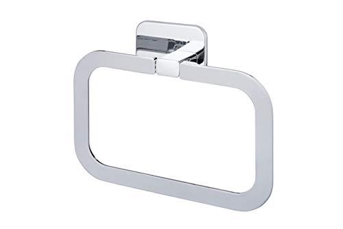BISK TORE タオルリング トイレ おしゃれ ステンレス (シルバー:クロムコーティング仕上げ/壁取付 ネジ付 / 3M製 両面テープ付属) タオルハンガー タオル掛け