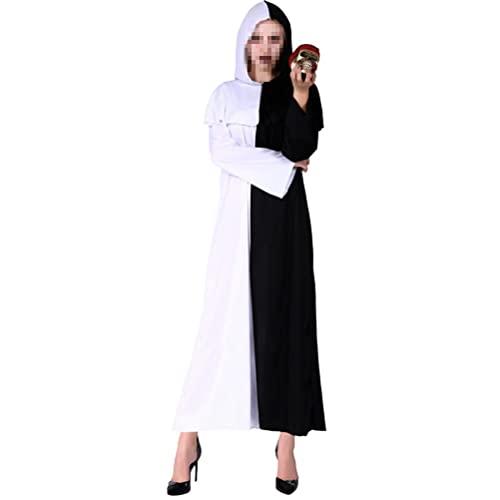LIXHZJ Disfraz de bruja con capucha para adulto con capa blanca y negra para disfraz de Halloween Cosplay / 145