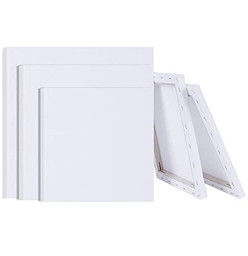 Yulang 3 Piezas Paneles de Lienzos para Pintar, 40x40 30x30 20x20cm, Canvas para Pintar, Lienzos en Blanco, Blanca Lienzos Preestirados Lienzos Enmarcados, Lienzo Pintura para Óleo Acrílica Acuarela