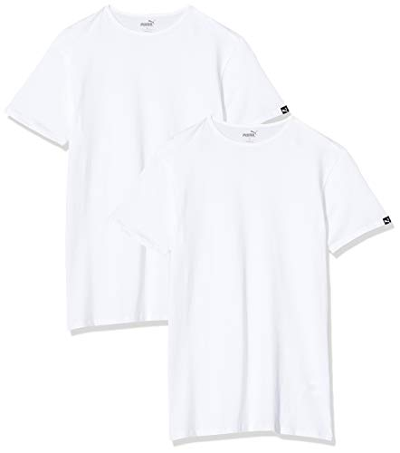 PUMA Basic 2P Crew Tee T-Shirt, Blanc (White 300), Small (Taille Fabricant:010) (Lot de 2) Homme