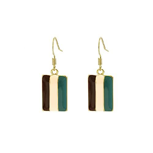 Temperamento pendientes geométricos simples de moda salvaje pendientes de tres colores a rayas retro ganchos para la oreja pendientes personalizados