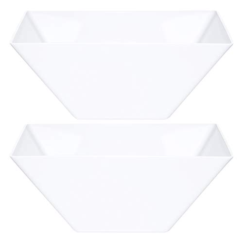 Plasticpro Disposable Square Plastic Medium White Serving Bowls Extra Heavy Duty for Party's Snack or Salad Bowl, Elegant Pack of 4