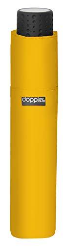 doppler Taschenschirm Fiber Havanna Uni – Super leicht – Kompakte Größe – 22 cm – Shiny Yellow