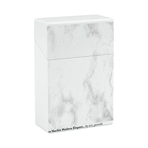 Zigarettenetui aus Kunststoff, weiß, Marmor, modern, elegant, blanko, Vorlage, tragbar, Anti-Druck, Flip-Cover, Neuheit Geschenke für Männer und Frauen