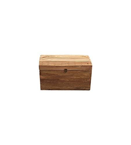 Meubletmoi - Baule per tesoro con manico in legno di pino riciclato, colore: Chalet