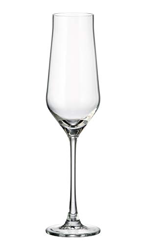 Crystalite Bohemia Alca Non-Lead Crystal Wine Glasses Stemware Collection, Sets of 6 (Champagne Flutes)