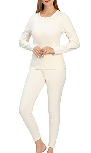 Ultra Soft Thermal Underwear for Women, Long Johns 2 Set with Fleece Lined ,Cold Weather Base layer Warm Top Bottom (Off-white, L)