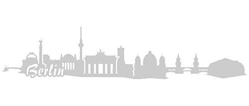 Samunshi® Berlin Skyline Aufkleber in 8 Größen und 25 Farben (20x4,3cm silbermetalleffekt)