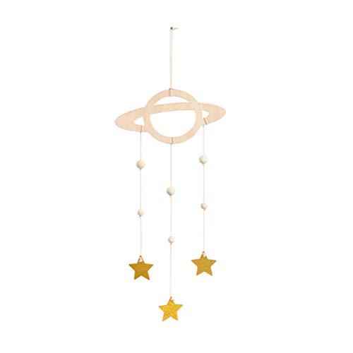 LIOOBO Holz Hängedeko Baby Mobile Planet Star Hängende Bilderrahmen Decke Hänger Kinderzimmer Dekoration (Golden)