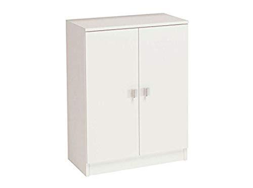 HOGAR24 Armario bajo, 2 Puertas, 60 cm de Ancho, Madera, Color Blanco