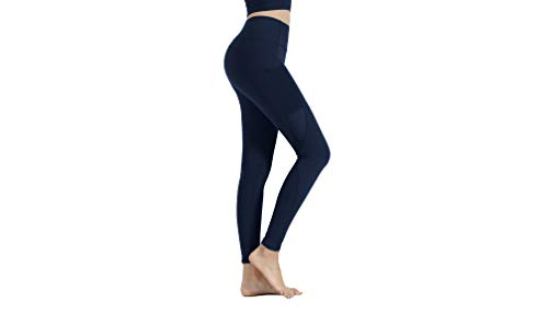 High Waisted Tummy Control Leggings with Pockets for Women, Yoga Pants Workout, Dark Blue Large