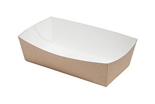 ECOCLEO® Eco Schalen aus Pappe | 100 Stück | Pappschalen für TAPAS, Snacks, Fingerfood und Pommes. Ideal für Geburtstag, Grill und Partys | Schälchen aus Frischfaserkarton | 14cm x 7cm x 4,5cm