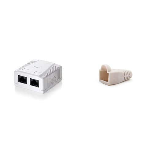 Equip 235212 Caja de montaje en superficie, Cat.6, de 2 puertos, Versión 1, Blanco + NanoCable 10.21.0301-OEM Funda para conector de cable de red Ethernet RJ45, gris, bolsa de 10 unidades