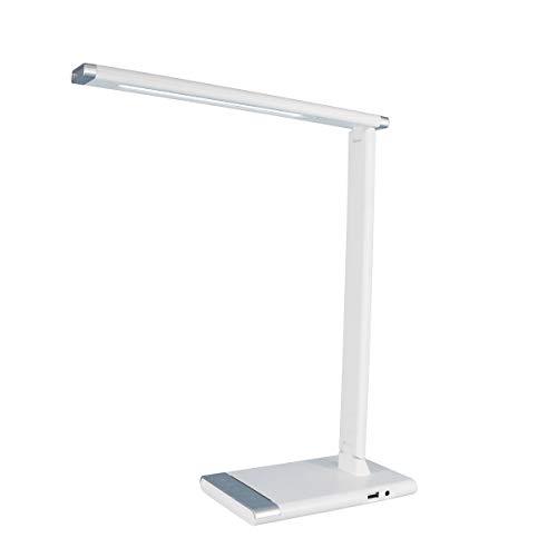 JANDEI LED-bureaulamp met draadloze oplader, draadloos, QI en USB, bedlampje, leeslamp, touch-flex, 3 kleuren, dimbaar