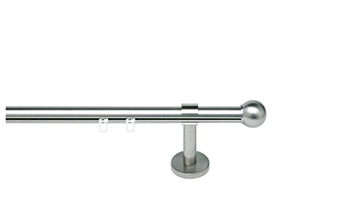 indeko TONDO, Gardinenstange mit Innenlauf Ø 20mm auf Maß, 1-Lauf, edelstahloptik, Komplettset mit Zubehör