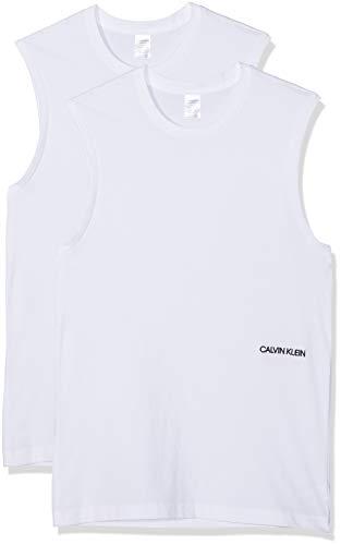 Calvin Klein Damen Muscle Tank 2PK Unterhemd, Weiß (White 100), One Size (Herstellergröße: XL)