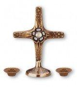Set * Brons * 3-delig, Staande kruis met bergkristal en twee lampen Grootte: 12 cm / 5 cm