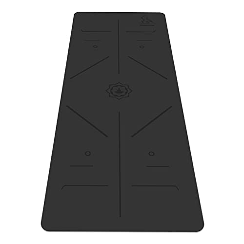 YUGLAND PU Yoga Mat- Nonslip Eco-friendly Natural Rubber Hot Yoga Exercise Mat with Alignment Lines, Free Carry Strap& Bag, 72x26.8In, Black