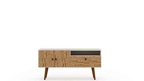 "Manhattan Comfort Tribeca Mid-Century Modern TV Panel with Overhead Décor Shelf, 53.94"", Off White/Nature -  3PMC81"