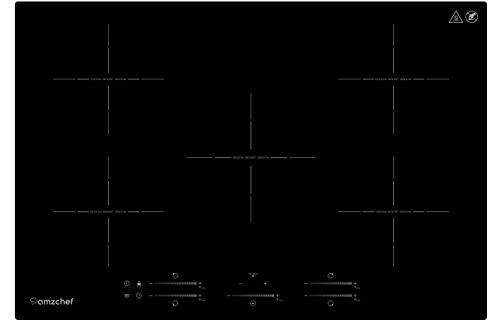 Placa inducción AMZCHEF Placa de inducción encastrable de 5 zonas con booster, 9 niveles, función de pausa, mantenimiento del calor, eléctrica placa de inducción con control deslizante, temporizador
