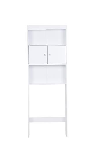 Badschrank Waschmaschinenschrank Waschmaschinen-Überbauschrank Badregal Badezimmerregal Hochschrank mit 2 Türen Badezimmer weiß 178 cm hoch HWS01-WEI