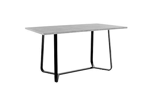 HOMEXPERTS Tisch TILDA / 140 cm Länge / Esstisch mit hochwertiger Melaminbeschichtung in Light Atelier Beton-Optik / Grauer Wohnzimmertisch / Gestell Metall Schwarz / 140 x 76 x 90 cm (BxHxT)