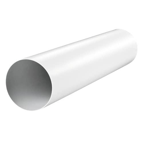 Fantronix Tubo circular de plástico sólido de 125 mm de diámetro x 500 mm de largo de 5 pulgadas de tubo de conducto manguera blanca – canal de conducto recto rígido