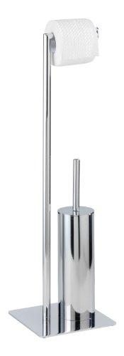 WENKO Stand WC-Garnitur Recco - WC-Bürstenhalter, Stahl, 20 x 71,5 x 20 cm, chrom